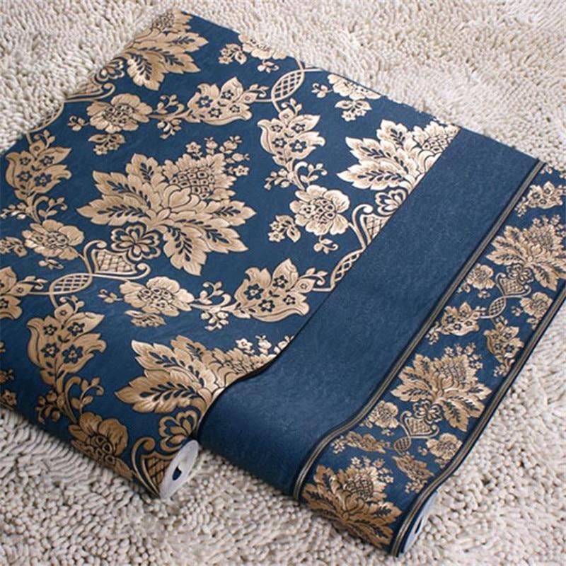 Estereoscópica 3d papel pintado de lujo wallpaper rollo mural de oro y azul de rayas y.jpg