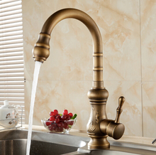 Новое поступление античная латунь кухонный кран бронзовая отделка, Водопроводной воды кухня поворотным изливом комнаты раковина кран одной ручкой