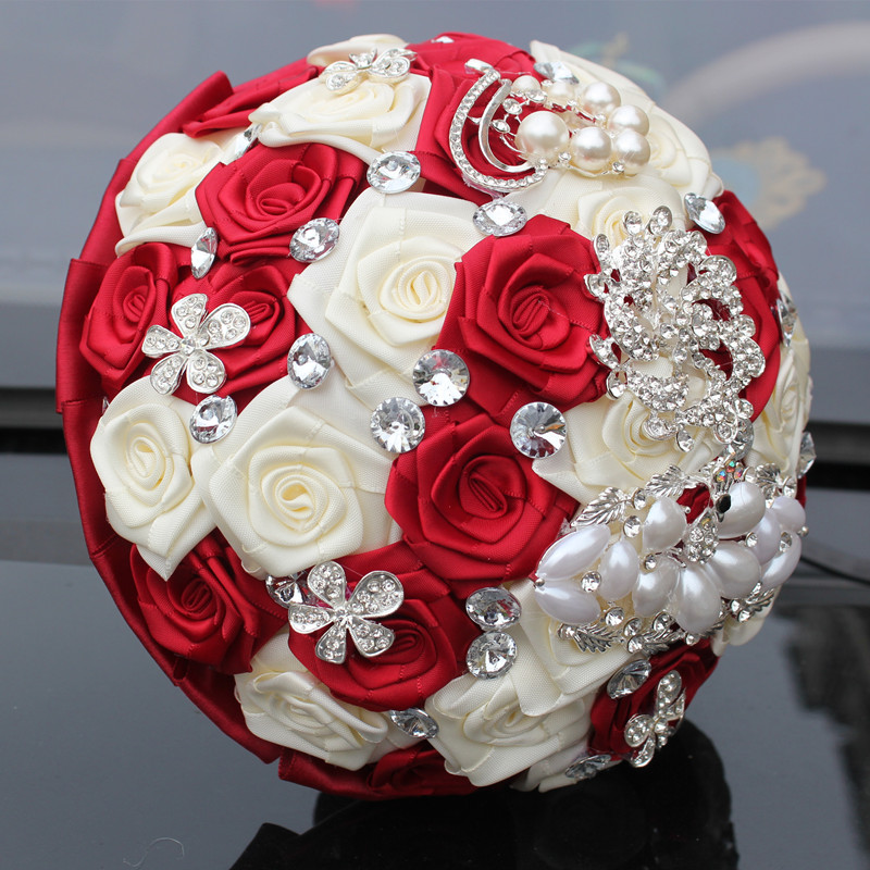 WifeLai-A 1PC Custom Stunning Röd Ivory Wedding Bouquet Crystal - Bröllopstillbehör - Foto 4