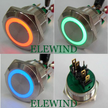 ELEWIND 22mm 3 LED color waterproof push button switch(PM221F-11ZE/RGB/12V/S)