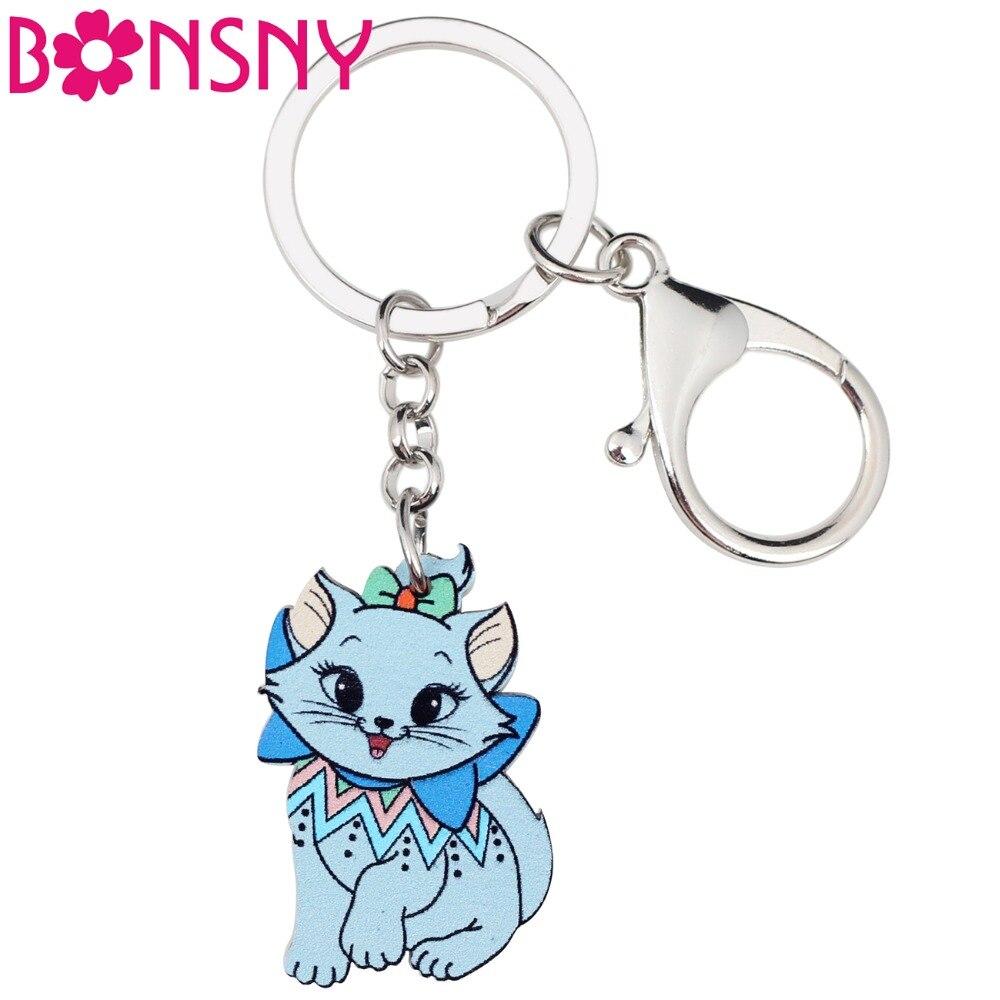 Bonsny Acrylic Cartoon Elegant Cat Kitten Key Chains Keyrings For Women Girl Ladies Handbag Jewelry Car Key Novelty Charms Gift