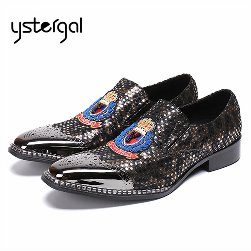 YSTERGAL Embroidery Dot Men Oxford Shoes Metal Toe Male Wedding Leather Shoes Mens Slip On Business Dress Flats Zapatos Hombre