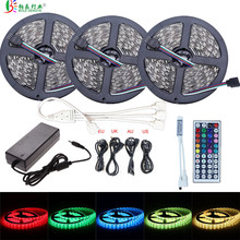 SMD 5050 RGB LED Strip 5M 10M 15M 12V 30 leds/m Waterproof Flexible LED Tape Ribbon White Rope Light+44key Controller+12V Power