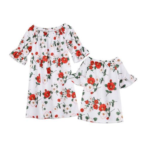 Humor Familie Outfits Kleidung Mutter Und Tochter Kleid Frauen Mädchen Kurzarm Nette Mini Sommer Kleider Mädchen 1-5 T Sparen Sie 50-70%