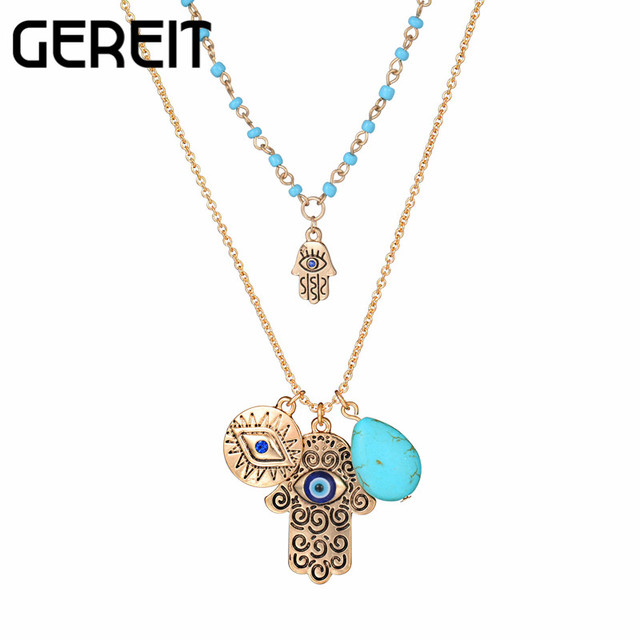 1pc islamic jewelry hasma fatima hand pendant necklace antique 1pc islamic jewelry hasma fatima hand pendant necklace antique silver blue evil eye charm double layer mozeypictures Images
