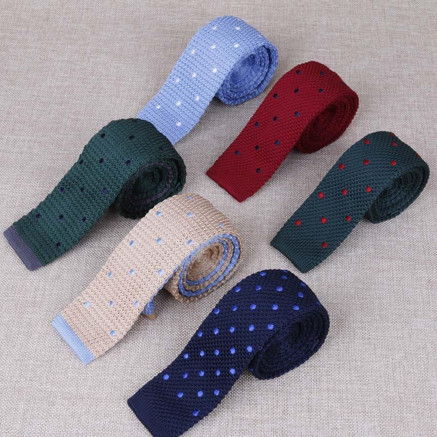 Men's Suits Knit Tie Plain Necktie For Wedding Party Tuxedo Casual Dots Woven Skinny Gravatas Cravats Accessories 25colors