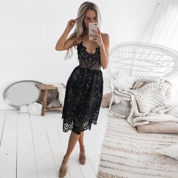 Women Party Summer Dress Deep V Neck Backless Lace Dresses Fashion 1