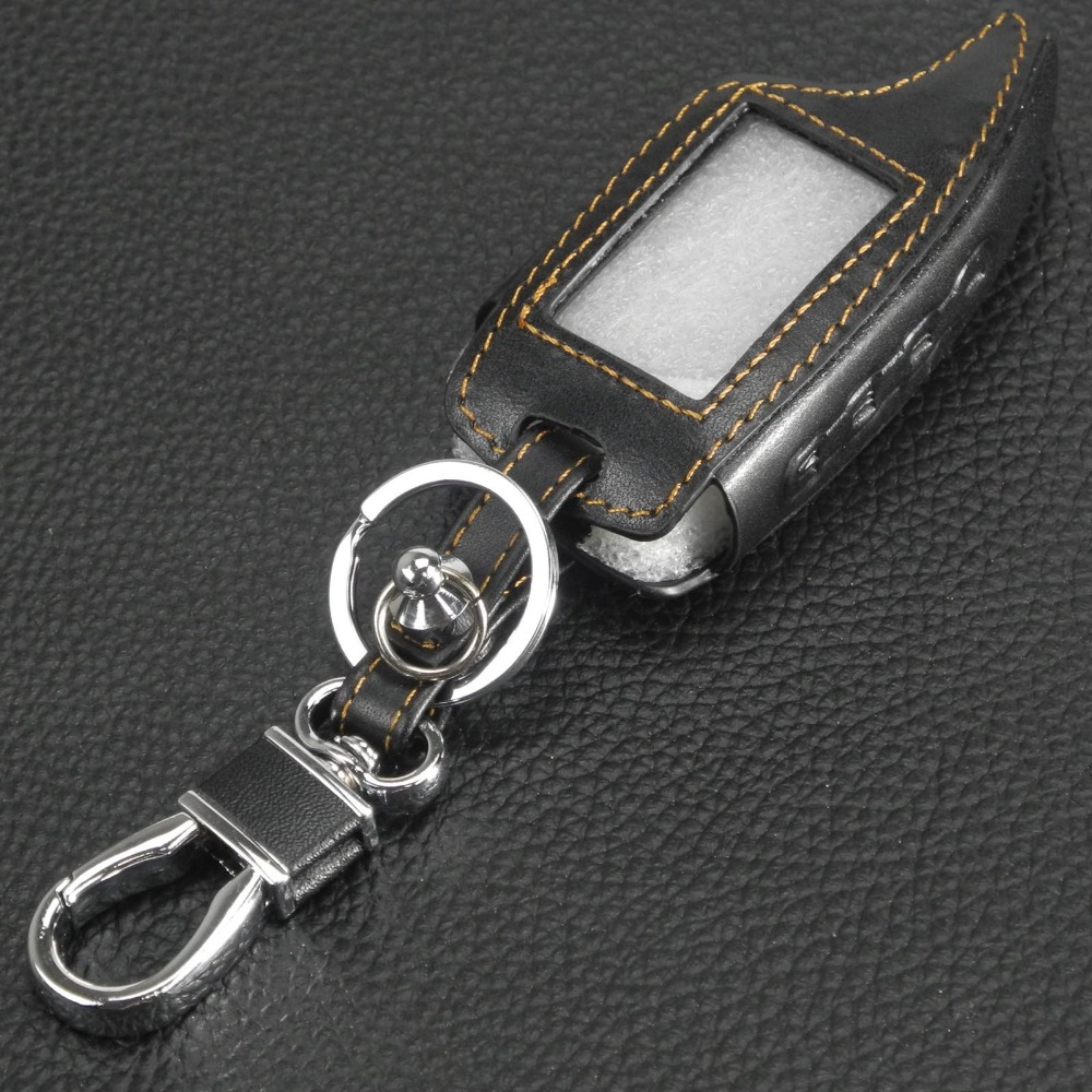 Jingyuqin 4 Buttons Leather Car Key Cover Case for Scher-Khan Magicar 5 LCD Remote Only Scher khan M5 Car-styling