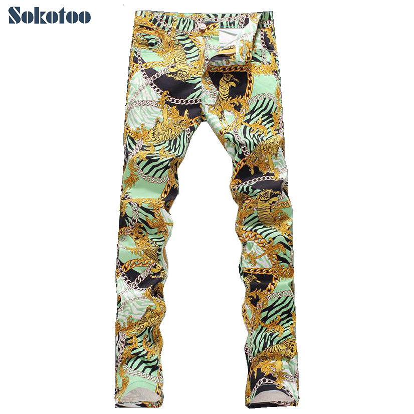 Sokotoo Men's fashion tiger chain print jeans Male slim fit thin denim pants Long trousers Free shipping