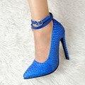 Novas Mulheres de Alta Qualidade Bombas Moda Dedo Apontado Saltos Finos Bombas Elegantes Sapatos Azuis Mulher Plus Size EUA 4-15