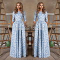 HIGH QUALITY New 2016 Russian Fashion S/S Runway Maxi Dress Women's 3/4 Sleeve Blue Floral Digital Printed Casual Long Dress