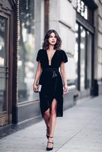 Sexy Club Velvet Dresses Women Bodycon Elegant Dress Sexy Deep V Neck Black Short Sleeve Plus Size S-2XL Formal Summer Dress
