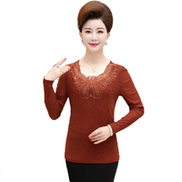 WAEOLSA 2018 Spring Woman Sequined Blouses Black Red Camel Basic Top Middle Aged Women Slim Fit