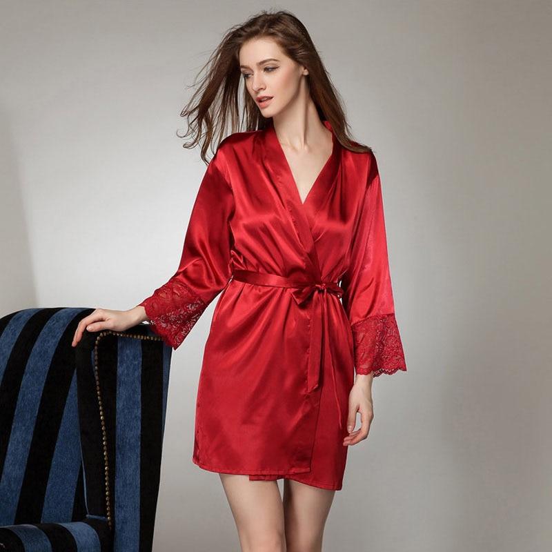Sexy Large Size Sexy Satin Night Robe Lace Bathrobe