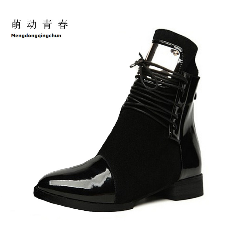 2016 Autumn Winter Shoes Woman Genuine Leather Women Ankle Boots Pointed Toe Lace Up Motorcycle Boots Female Plus Size 43 prova perfetto new hot women martin boots autumn round toe flat platform shoes woman lace up female genuine leather ankle boots