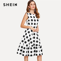 SHEIN Polka Dot Ruffle Hem Dress 2018 Summer Round Neck Sleeveless Knee Length Dress Women White Elegant Black Polka Dot Dress