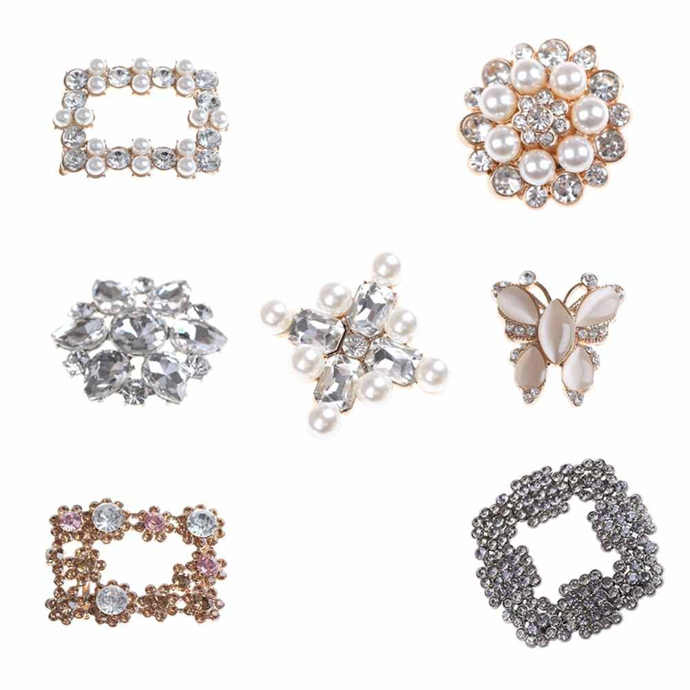 Bridal Shoes Rhinestone Clip Buckle Crystal Shoe Clip Decoration Faux Pearl Shoe Clips Shoe Charms Accessories 7Styles