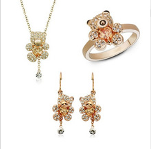 gold cute bear crystal jewelry sets earrings necklace rings jewelry set for women party bijouterie