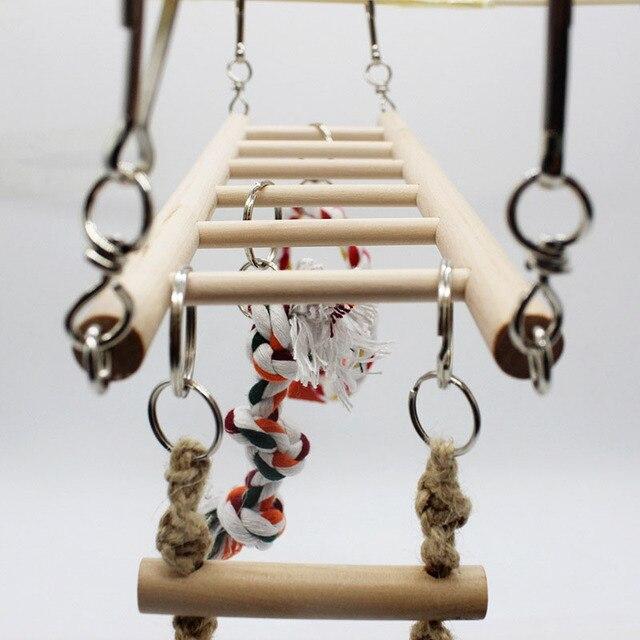 1PCS Suspension Bridge Parrot Climbing Ladder Pet Toys Birds Hamster Squirrel Cage Hanging Bridge Ladder Small pet Toys Chew Toy 3