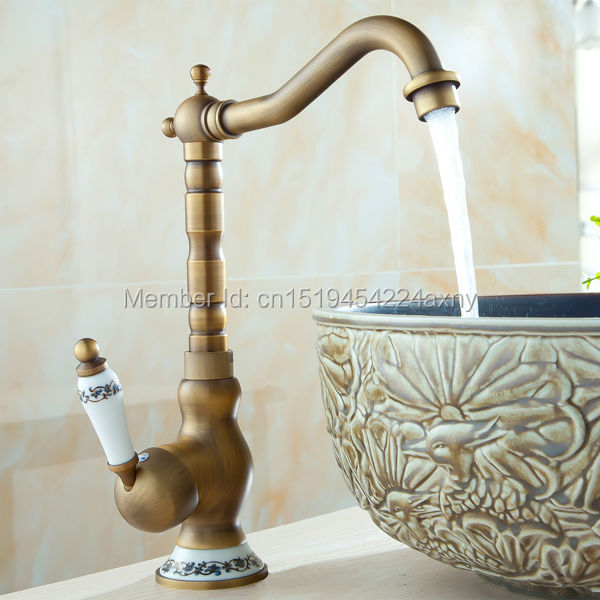 Free Shipping Deck Mounted Bathroom Sink Mixer Faucet Antique Brass Single Ceramic Handle Hot & Cold Water Mixer Tap GI08