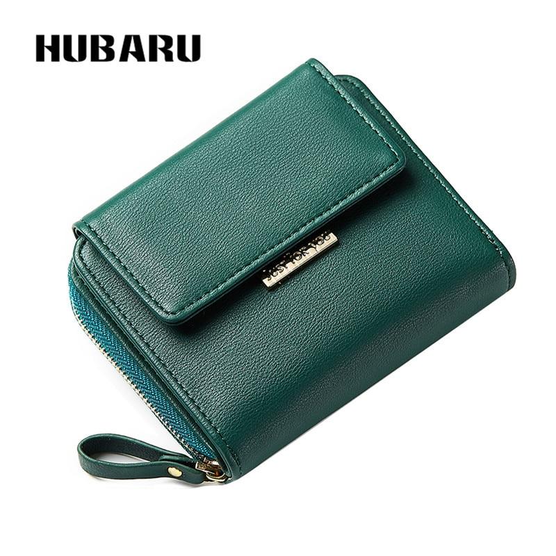 HUBARU New Fashion Women Short Wallets Magnet Closure PU Zipper Wallet Women's Coin Purse Female Wallet Credit Card Photo Holder