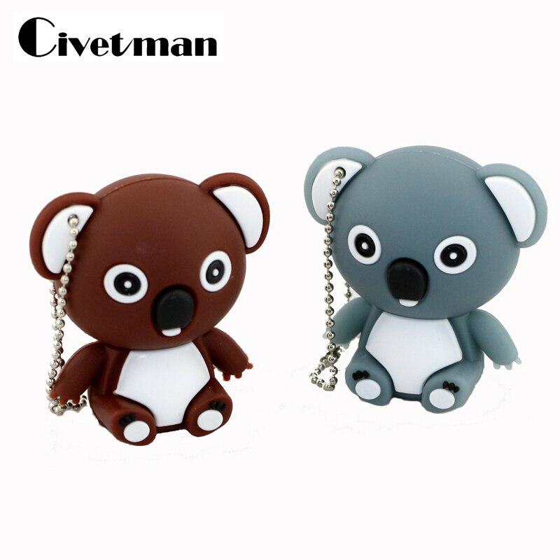 Cute Pendrive Koala Cartoon USB Drive 128GB 64GB 32GB 16GB 8GB Flash Memory USB Stick Memory Disk Pendrives Pen Drive Girl Gifts