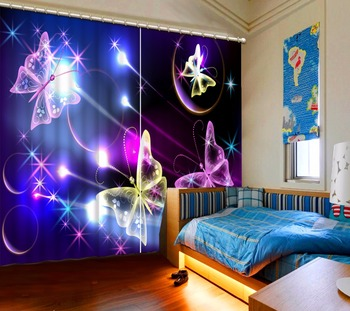 3D Curtain Natural Beautiful Anime Purple Butterfly Yellow Butterfly Purple Curtain Bathroom Curtain Blackout Curtain Fabric