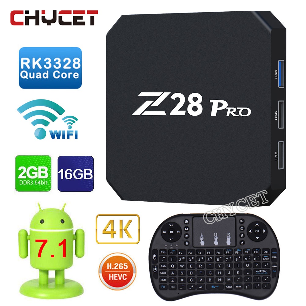 Chycet Android 7.1 Z28 PRO TV Box Smart Set Top Box Kx2K 2G 16G RK3328 Quad Core 2.4G H.265 HD 5pcs android tv box tvip 410 412 box amlogic quad core 4gb android linux dual os smart tv box support h 265 airplay dlna 250 254