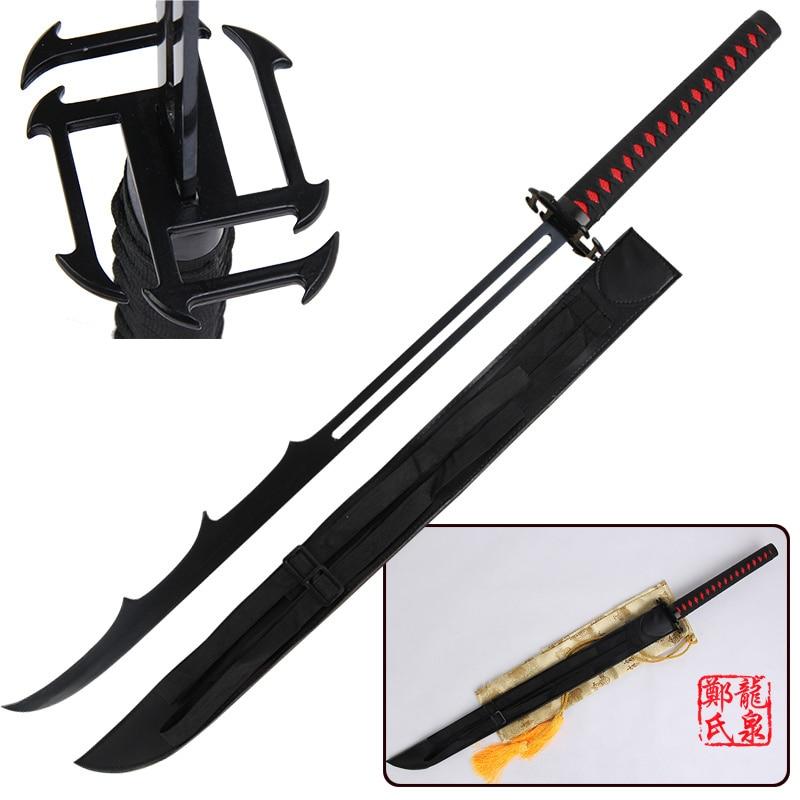 Free Shipping For Bleach Anime Sword Ichigo Steel Katana Replica Bankai Cutting Moon Cosplay Props Decorative Supply