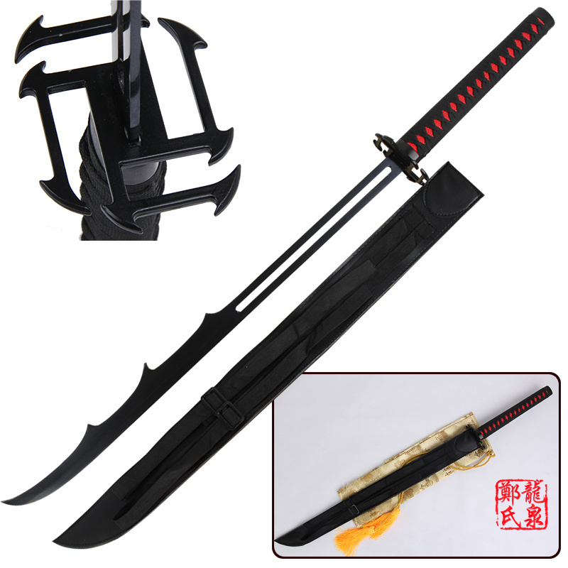 Free Shipping For Bleach Anime Sword Ichigo Steel Katana Replica Bankai Cutting Moon Cosplay Props Decorative Supply