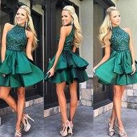 Изумрудно зеленый Короткие платья выпускного вечера с высокой горловиной из бисера атласная мини до колена Длина вечерние платья индивиду