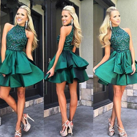 Emerald Green Short Prom Gowns High Neck Beaded Satin Mini Knee Length Evening Gowns Custom Made Charming Formal Party Dress