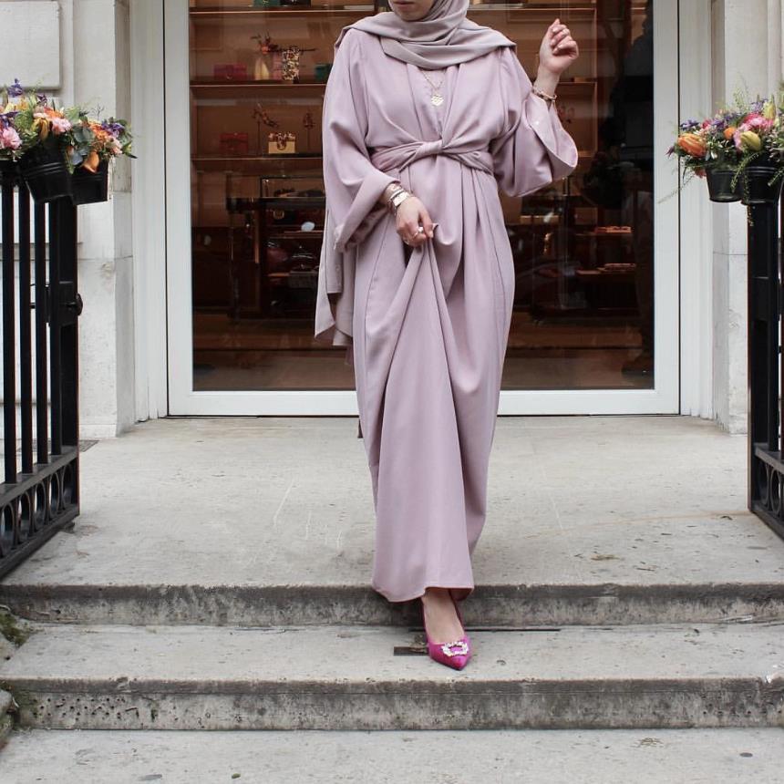 Robe Abaya Kaftan Muslimah Worship-Service Turkish Two-Pieces Dubai Fashion Full-Length