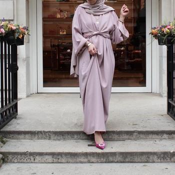 Vestido musulmán de dos piezas para mujer, túnica de longitud completa musulmana...