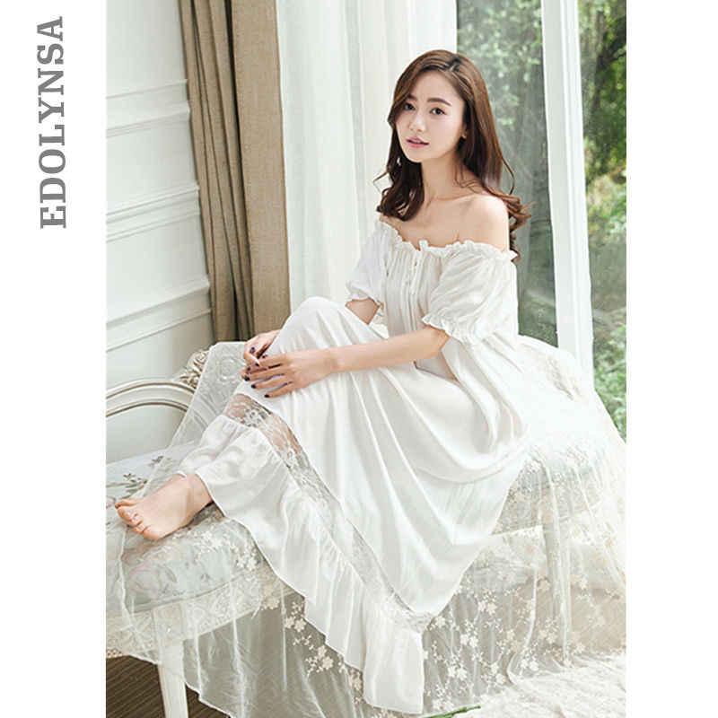 Nightgowns Sleepshirts 2019 Nightgown Female Cute Night Wear Lace Sleepwear  Solid Home Dress Sleep   Lounge d75c7427e