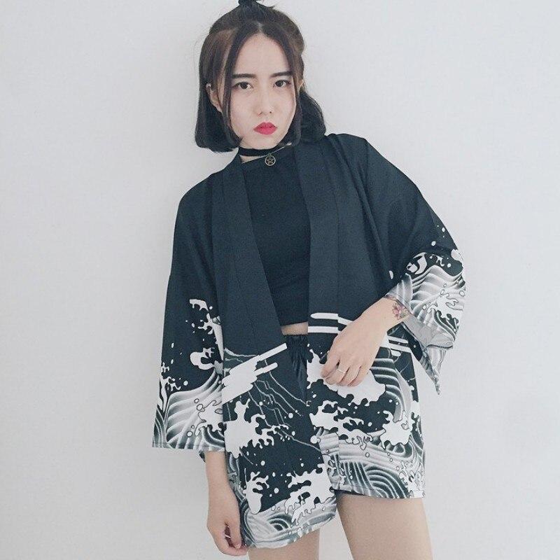ROPALIA Vintage Sun Protection Cardigan Dragon Waves Printed Chiffon Kimono Sun   Shirt   Women Clothing Outerwear   Blouse     Shirts