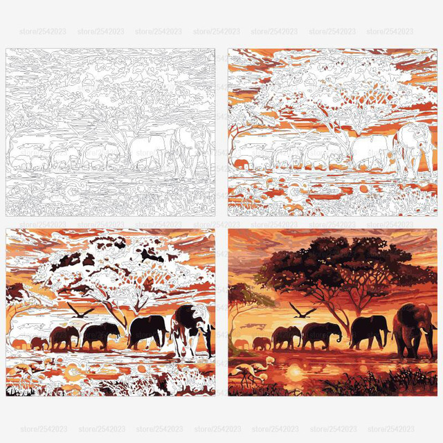 Elephants Landscape DIY Digital Painting By Numbers Modern Wall Art Canvas Painting Unique Gift For Home Decor 40x50cm