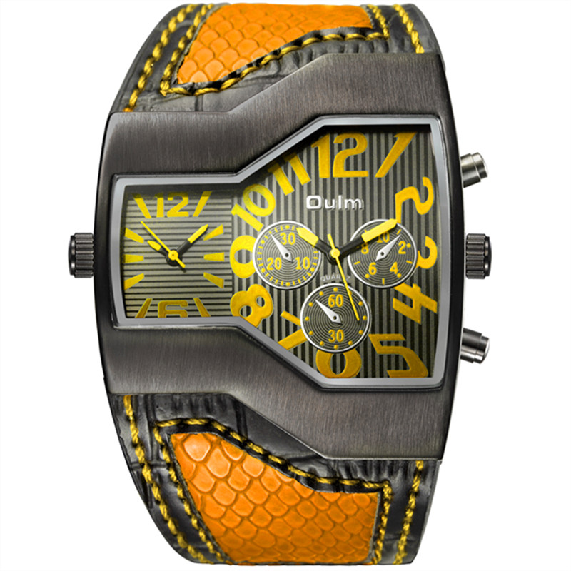 Oulm Authentic Tag Brand Watches Men Serpentine Leath @