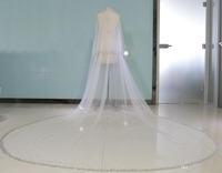 Real Image Bling Bling Bead Two Layers Bridal Veils Luxury High Quality Long Wedding Veil With Combs