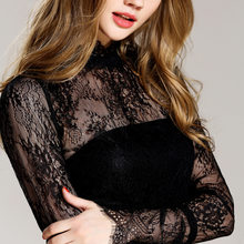 Women Sexy Lace Shirt 2018 Spring Summer New Hot Fashion Female Casual Solid Color Hollow Out Flare Sleeve Blouses Shirts Tops(China)