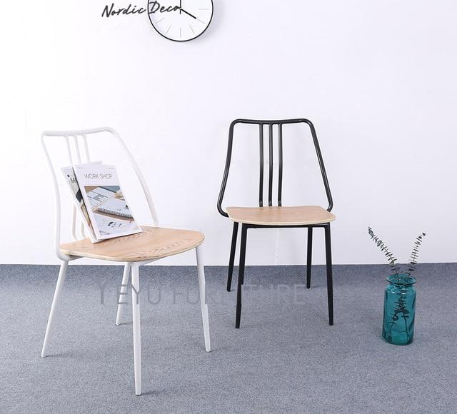 Moderne Design En Métal Et Bois Côté Salle à Manger Chaise Café