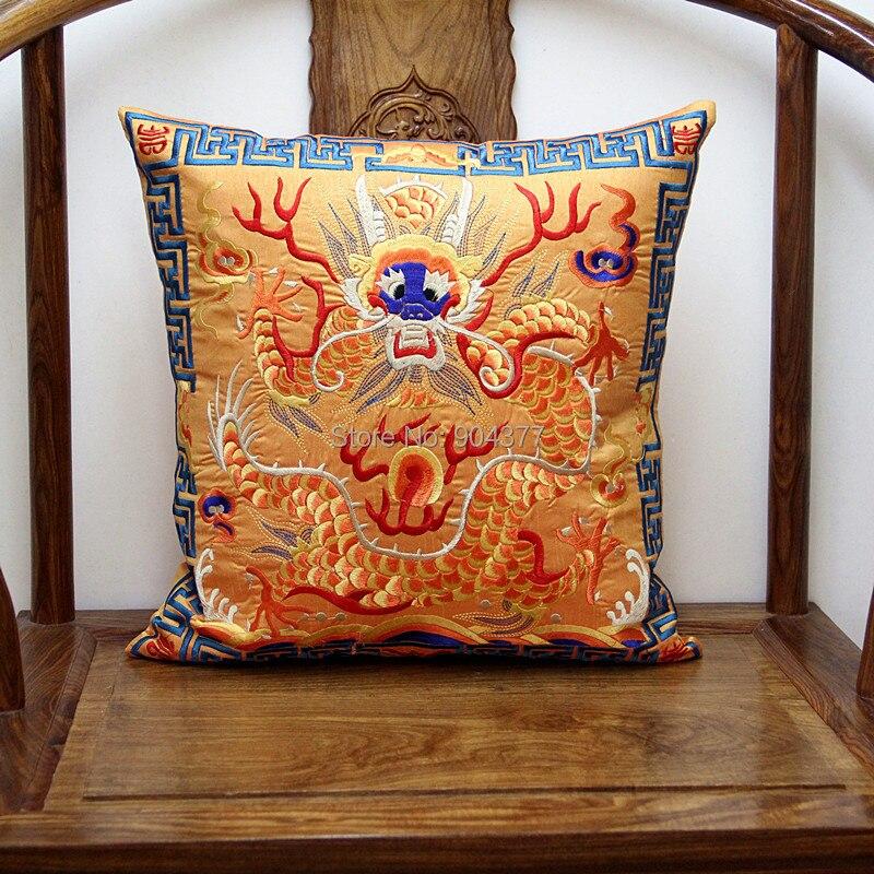 Полностью вышитые китайские наволочки для подушек, рождественские декоративные этнические винтажные сатиновая подушка для дивана и стула