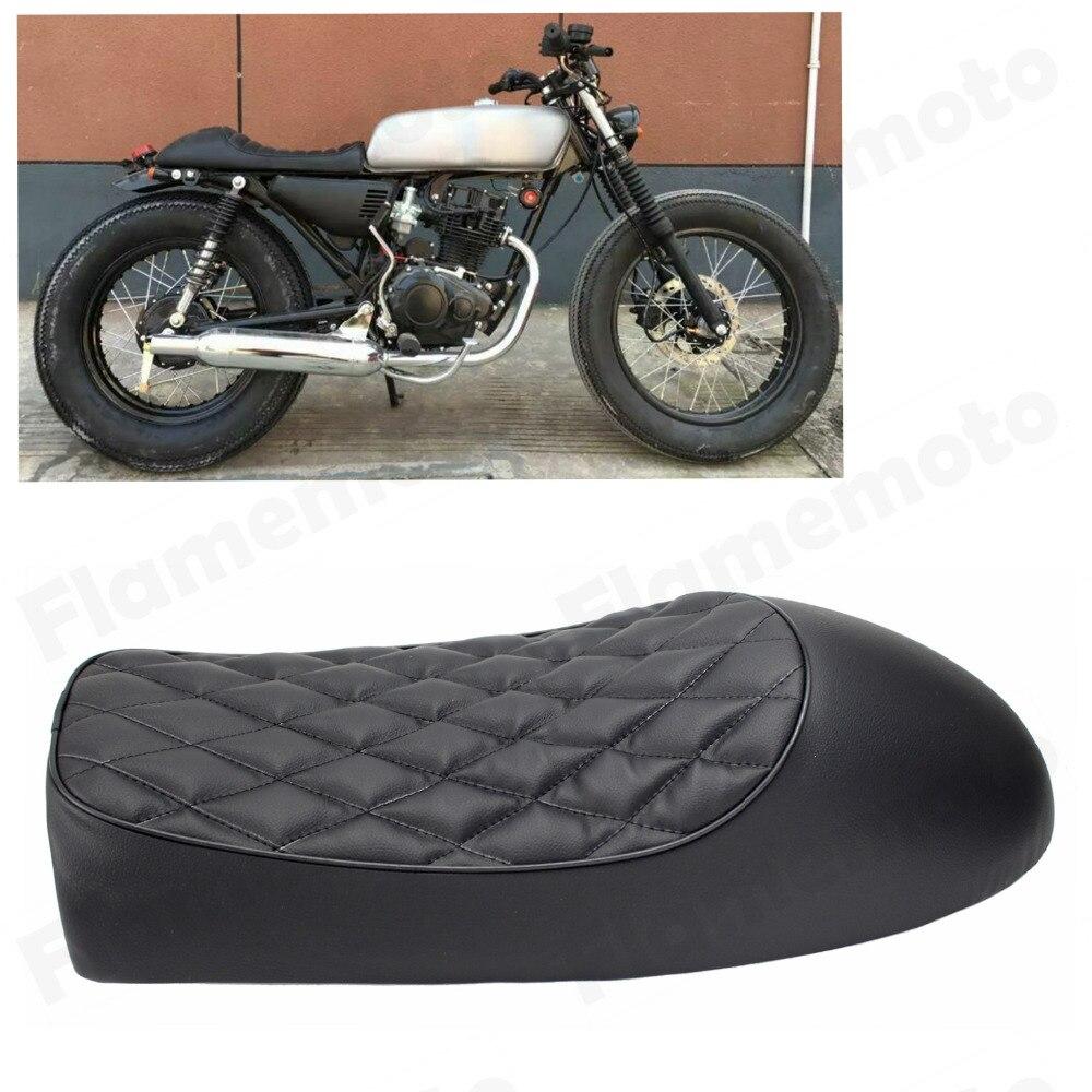 Motorcycle Black Alligator Leather Cafe Racer Brat Flat Brat Seat Saddle Custom