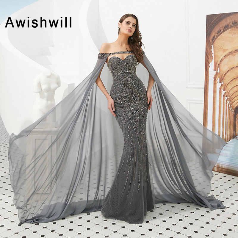 Роскошное длинное платье для выпускного вечера 2019 полностью бисер серое Русалка вечернее платье со съемной накидкой Дубай Стиль vestido de festa