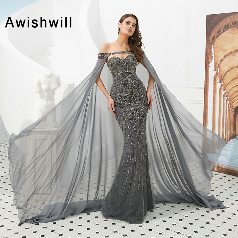 Luxury Long Prom Dress 2019 Fully Beads Grey Mermaid Formal Evening Dress With Detachable Cape Dubai Style Vestido De Festa