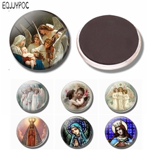 Christian Refrigerator Magnets Virgin Mary and The Angels Magnet Fridge Glass Dome Ornaments 30MM Magnetic Stickers Home Decor