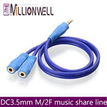 3.5mm M/2F 3.5mm AV cable music share cable Audio cable,3.5mm Male TO 2  3.5 Female 3 poles stereo cable