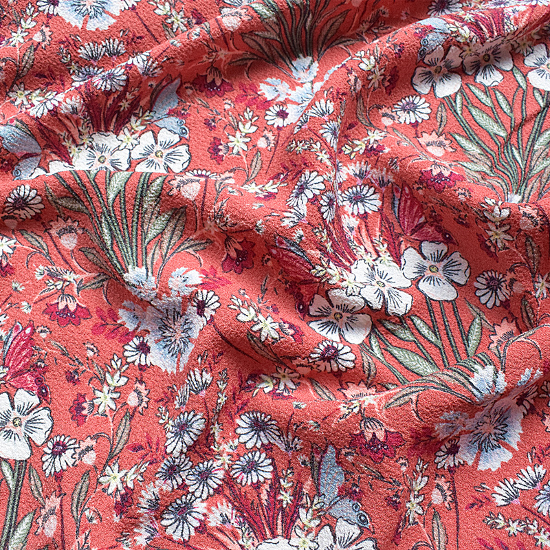 2019 New Super Thick Tangled Chiffon Fabric Spring, Summer And Autumn Printing Fabric Pink Ethnic Wind Is Not Through