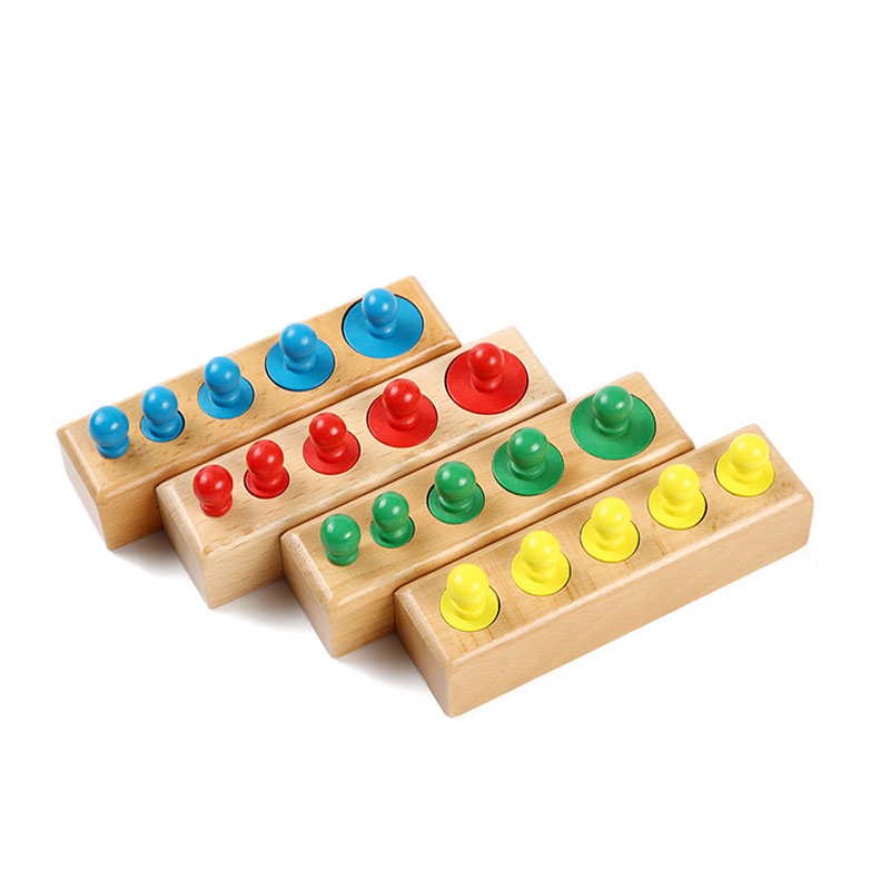 Colored Montessori Cylinders Blocks Set Preschool Sensory Material Montessori Educational Wooden Toys For Children MC1864H