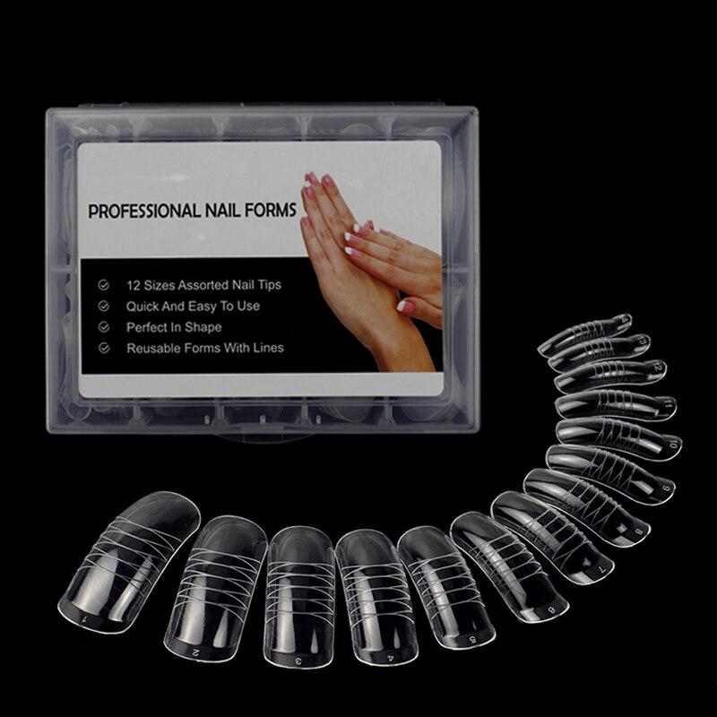 140 шт./кор. прозрачная акриловая система для маникюра, двойная форма, УФ-гель для ногтей, полное покрытие, насадки для ногтей с чехлом, 14 разме...